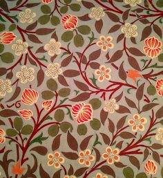 William Morris. wall paper colors flowers leaves red orange green natural design