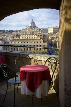 View of St Peter's from Cafe at Castel Sant Angelo. If you can, this is a great place to sit at sunset.