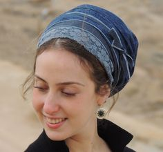 Lovely Jeans Sinar Tichel,Hair Snood, Head Scarf,Head Covering,jewish headcovering,Scarf,Bandana,apron by SaraAttaliDesign on Etsy https://www.etsy.com/listing/262992564/lovely-jeans-sinar-tichelhair-snood-head