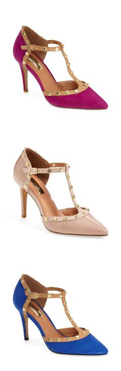 Can't decide between the glossy patent leather or luxurious suede of these studded T-strap pumps.