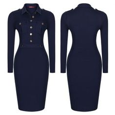 The crew cut bodycon dress makes you look smart and sexy while u are still copletely covered.This dress is made from a fine blend of cotton,lycra and polyester to give it that bodycon fit. Crew Cuts, Navy Blue Dresses, The Ordinary, Dress Making, High Neck Dress, Bodycon Dress, Dresses For Work, Long Sleeve, Sexy
