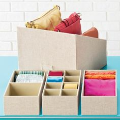 The Container Store > Linen Drawer Organizers – Purses And Gandbags Organization Closet Organizer With Drawers, Linen Closet Organization, Container Organization, Handbag Organization, Organization Ideas, Storage Ideas, Drawer Dividers, Organizing Tips, Store Purses