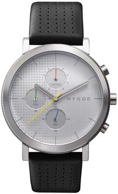 HYGGE 2204 Duality Chrono Leather Silver HYGGE is a unique watch brand directly influenced by Scandinavian design and based on Japanese quality and technical high-standards. Its minimalist aesthetic, attention to detail, and commitment to craftsmanship are a hallmark of both cultures.  In the Danish culture, Hygge is a fundamental aspect expressing a lifestyle where cozy, warm and friendly feelings are cherished.
