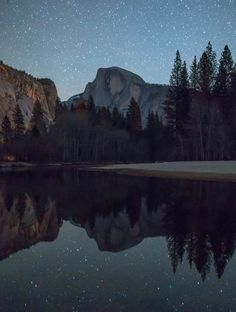 Clear night sky reflecting on the Merced River at one of my favorite spots in Yosemite [OC] [3308x4376]