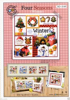 """Four season-Winter"" Counted cross stitch chart. SODAstitch SO-3149 #SODAstitchsodastitch #PillowCover"