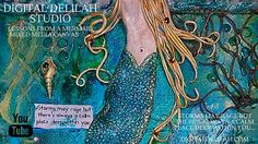 🎨 Digital Delilah Studio - Lessons From A Mermaid, Mixed Media Canvas