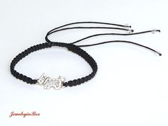 Black Macrame Doggy Bracelet with White Swarovski by JewelryinBox, $16.00