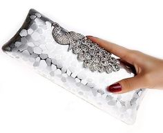 Women's Peacock Evening Clutch Purse with Shoulder Strap