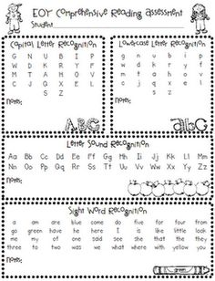 Kindergarten throughout the year assessment for literacy and math. Here you can find a printable sheet for beginning, middle and end of year benchmark assessment.