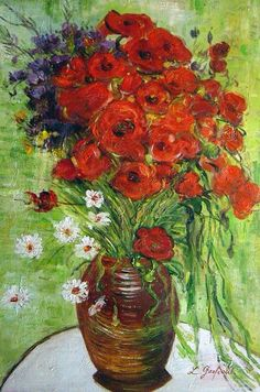 """Vase With Daisies and Poppies"" by Vincent Van Gogh"