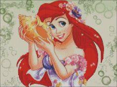 Ariel Little Mermaid Cross Stitch Pattern PDF door lisalskinner, $3,00