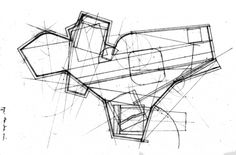Sketch: the plan is generated by the movement of the child playing. Small house for a Kolonihaven. EMBT, Courtesy of EMBT. Click above to see larger image. Architecture Sketchbook, Islamic Architecture, Concept Architecture, Architecture Photo, Amazing Architecture, Shading Device, Architect Drawing, Hand Lines, Photo Sketch