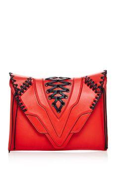 Scarlet Pochette Fatale Laced Large Clutch In Sensua by Elena Ghisellini for Preorder on Moda Operandi