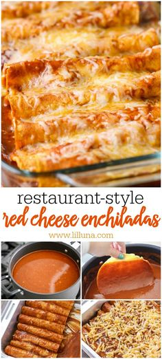 Restaurant-Style Red Cheese Enchiladas recipe - an old family favorite recipe that is simply the best. Corn tortillas filled with cheese, tomato sauce, chile puree, salt & garlic pepper and topped with more cheese!