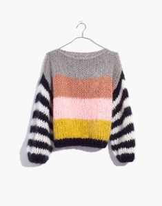Madewell x Maiami Striped Big Sweater in pink lime image 4 Knit Fashion, Sweater Fashion, Sweater Outfits, Big Sweater, Fall Fashion, Style Fashion, Hand Knitted Sweaters, Cool Sweaters, Sweaters For Women