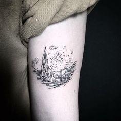 Starry Night - Vincent Van Gogh When . Starry Night - Vincent Van Gogh If You - # São. Van Gogh Tattoo, Neue Tattoos, Body Art Tattoos, Small Tattoos, Tatoos, Vincent Van Gogh, Form Tattoo, Shape Tattoo, Piercing Tattoo