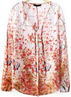 Red V Neck Long Sleeve Plum Flower Print Blouse pictures