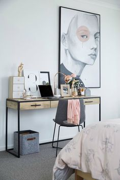 teenage girls industrial desk in bedroom with felt chair and copper table lamp