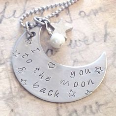 Hand stamped crescent moon  jewelry by InspiredByBronx on Etsy