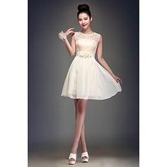 Knee-length+Chiffon+Bridesmaid+Dress+-+Champagne+Ball+Gown+Jewel+–+USD+$+39.99
