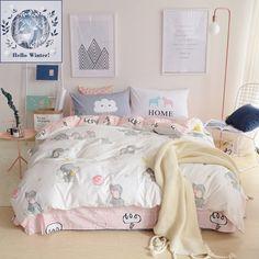 BuLuTu 100% Cotton Elephant Kids Bedding Duvet Cover Sets Queen White/Pink  3 Pieces