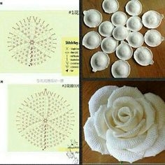 Best 11 Free Crochet Pattern with tutorial This project belongs to very easy, slowly step by step with written instructions you will crochet your own cozy rose.Best 12 Crochet Flower Pattern for a large Blue Moon Rose by Happy Patty Crochet – Skill Free Crochet Rose Pattern, Appliques Au Crochet, Crochet Flower Patterns, Crochet Diagram, Crochet Motif, Knitting Patterns, Free Knitting, Diy Crochet Flowers, Crochet Puff Flower