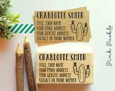 Personalized Cactus Business Card Stamp, Custom Business Card Rubber S – PinkPueblo