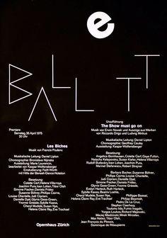 Rudi Rüegg, Ballett poster, 1975. Opernhaus Zürich, Switzerland. Source