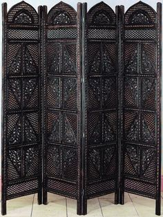 Antiques Wood Room Divider 4 Panel Hand Carved Screen Home Decor Divider Screens #bombayjewel #ExoticOrientalStyle