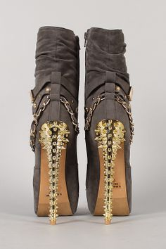 Get ready for an unforgettable season of chic style with stunning mid calf boot! Featuring smooth velvet upper, almond toe, wrapped around strap with grommet embellishment, hidden platform, and metallic spike stiletto heel. Finished with cushioned insole, soft interior lining, and side zipper closure for easy on/off.