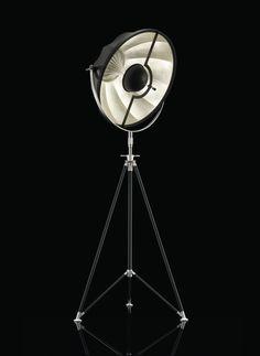 Fortuny floor lamp Studio 63, silver leaf lining the reflector.