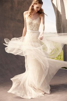twirling wedding dress, bridal separates | Elsa Tulle Skirt & Aria Gown from @BHLDN