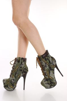 Olive News Print Camouflage Print Booties