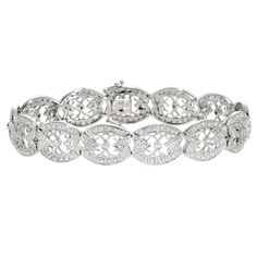 Gabriel and Co. 14k White Gold Vintage .95CT Diamond Bracelet