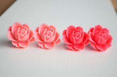 Flower Stud Earrings Resin Flower Earrings Cute Earrings One Pair on Etsy, $3.99