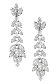 CZ by Kenneth Jay Lane Clear CZ Tiered Leaves Drop Earrings