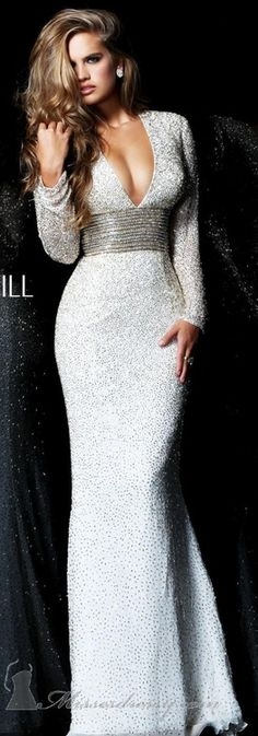 Sherry Hill Sequined & Beaded Sexy Gown minus the long sleeves and this would be a beautiful wedding dress