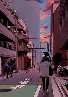 こ う 森 on in 2019 anime,artist,fantasy and drawing Aesthetic Art, Aesthetic Anime, Aesthetic Pictures, Sad Art, Cute Cartoon Wallpapers, Anime Scenery, Cartoon Art, Cute Drawings, Aesthetic Wallpapers