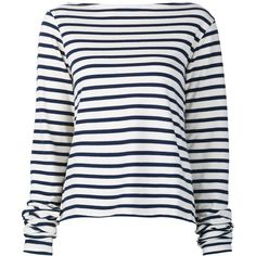Jacquemus Striped Longlseeved T-Shirt (8.390 RUB) ❤ liked on Polyvore featuring tops, t-shirts, shirts, blue, cotton t shirts, white shirt, cotton shirts, white cotton t shirts and white stripes t shirt