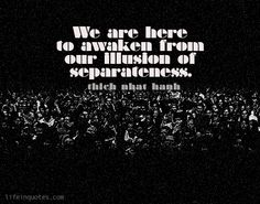 We are here to awaken from our illusion of separateness. -Thich Nhat Hanh | lifeinquotes.com | In honor of Dr Martin Luther King Jr.