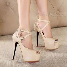 2014 Solid Color Platform Upper Stiletto Heel Ankle Strap Sandals 10965687 - Platform Sandals - Dresswe.Com