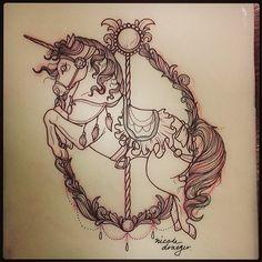 Un Upper Arm Tattoos, Leg Tattoos, Body Art Tattoos, Small Tattoos, Carousel Horse Tattoos, Carousel Horses, Unicorn Pictures, Unicorn Tattoos, Pony Drawing