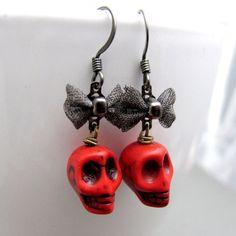 Skull Earrings  Red Skulls and Black Bows