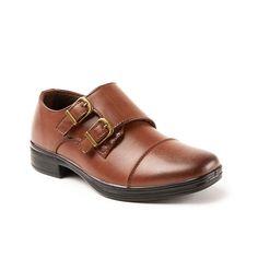 Deer Stags Wit Boys' Cap Toe Monk Strap Dress Shoes, Size: medium (12.5), Brown