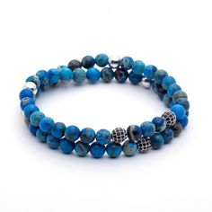 18kt. White Gold Diamond Balls & Blue Sea Sediment Imperial Jasper Double Bead Bracelet #jewellery #bracelet #fashion