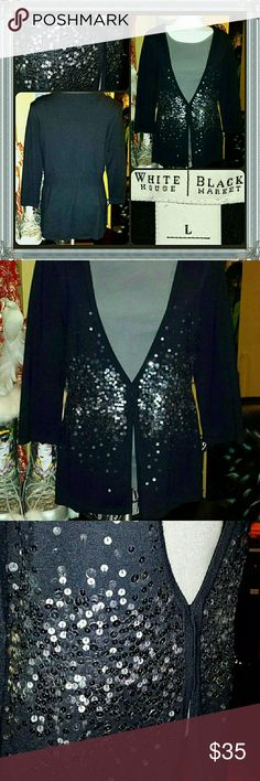 🔮 WHITE HOUSE BLACK MARKET GLAM SEQUIN SWEATER This PIECE & DESIGN is just SIMPLY BEDAZZLING & GORGEOUS 4 any CLASSY FASHIONISTA to add as a GO TO STAPLE in her wardrobe...its a LADIES SIZE LARGE and in ABSOLUTE EXCELLENT pre-luved condition White House Black Market Sweaters