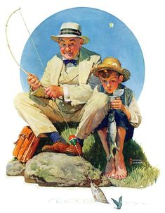 """Catching the Big One"" by Norman Rockwell, 1929 ー【This Rockwell work was ""The Saturday Evening Post"" cover, published August Norman Rockwell Prints, Norman Rockwell Paintings, Peintures Norman Rockwell, Red Truck Decor, Caricature Artist, Arte Pop, Art Sketchbook, American Artists, Belle Photo"