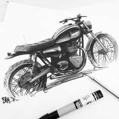 Dusting off the old markers on a quick type 5 drawing. #autofabrica #triumph #type5 #bonneville #custom #caferacer #drawing #marker