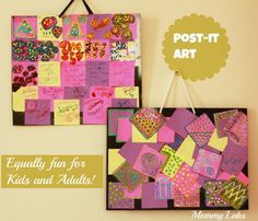 Post-Its Can Be Versatile Medium for Art, Craft and Creative Learning for Kids As Well as Adults. Check Out these artful mosaics created using post-its on paper bag. One of these is made by a 6-year old to learn math