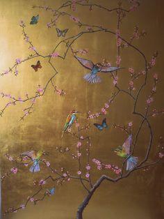 Ruth Winding: Bee-eaters blossoms and butterflies Hand Painted Wallpaper, Bird Wallpaper, Painting Wallpaper, Gold Wallpaper With Birds, Gold Chinoiserie Wallpaper, Mural Art, Wall Murals, Wall Art, Gold Leaf Art